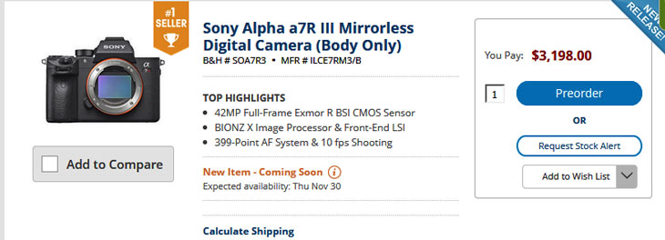 B&H top seller camera