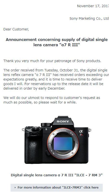 Sony A7R III shortage