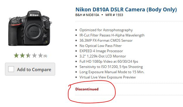 Nikon D850a camera