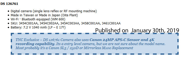 More Confirmations: Canon SL3, 200D Successor Announcement