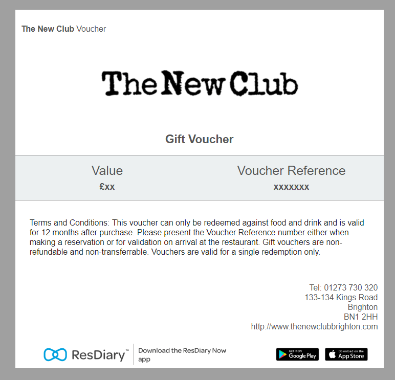 The New Club, Brighton Gift Voucher