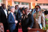 President Akufo-Addo at the 31st AU Summit, exchanging pleasantries with an official of the EU