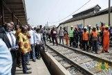 President Akufo-Addo at the Accra-Nsawam railway line