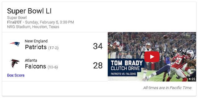 Super Bowl LI Patriots 34 – Atlanta 28