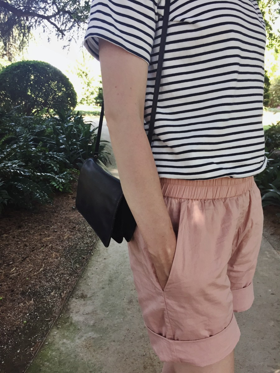 Four ways to style pink shorts