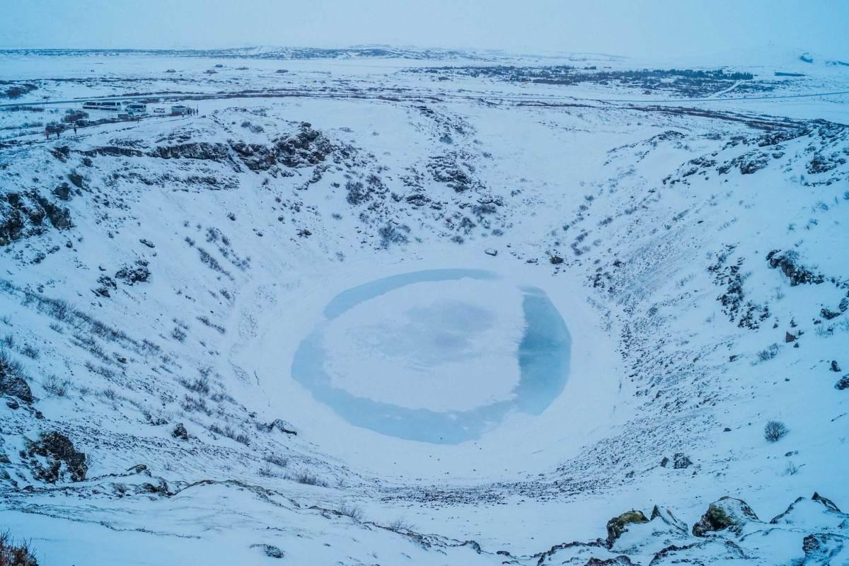 Kratermeer Kerið IJsland winter