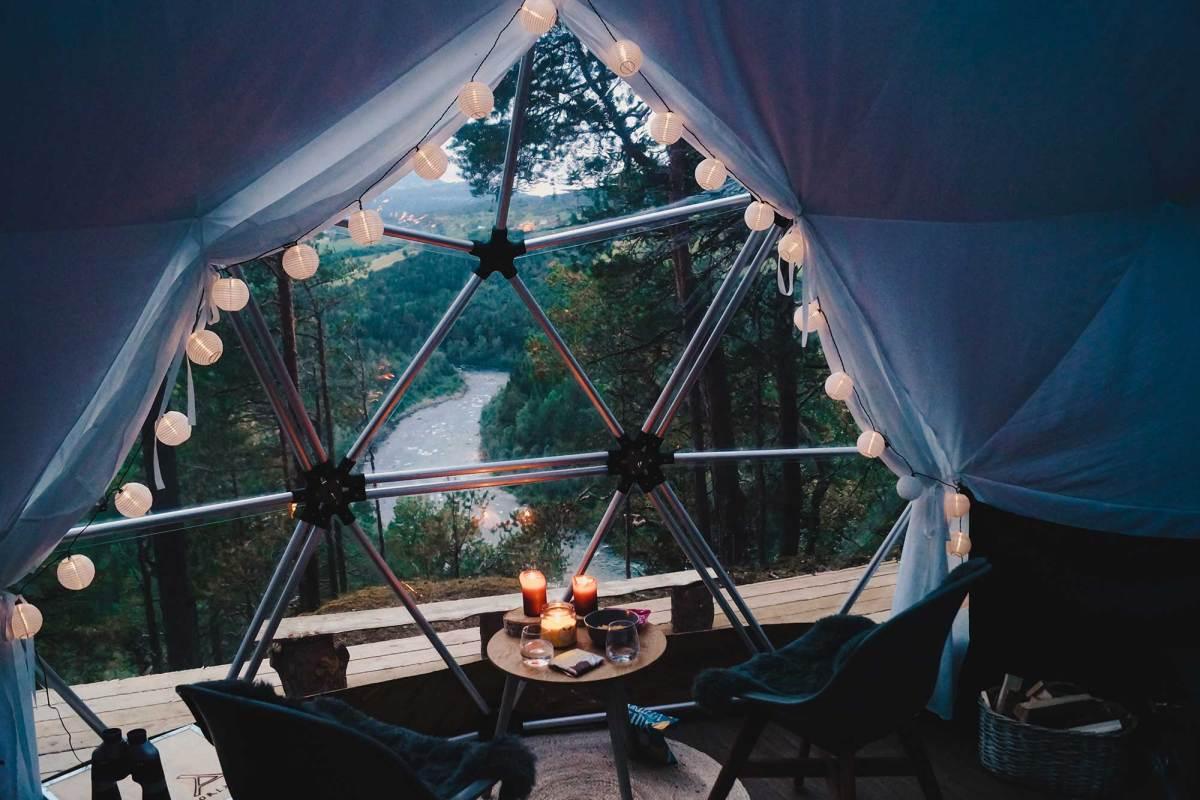 Overnachten in de Wild River Dome in Oppdal