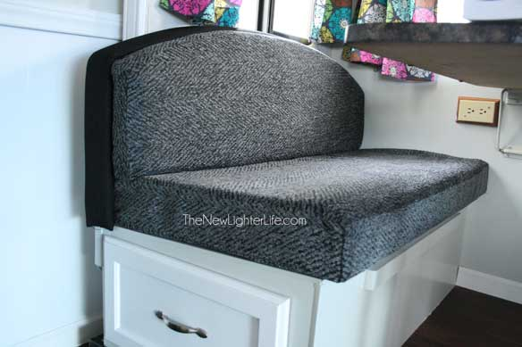 recovering chair cushions vinyl shiatsu massage recliner how to refinish an ugly booth dinette the new lighter life reupholstered