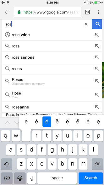how to type rose wine on an iphone