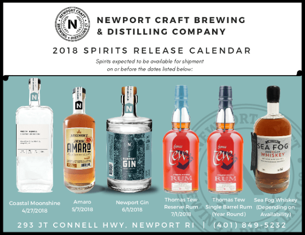 Newport Craft Distilling 2018 Spirits Release Calendar Thomas Tew