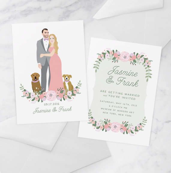 Custom Couple Illustrated Wedding Invitation | Friday Favorite from The Newport Bride