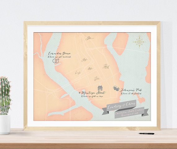 Personalized Wedding Map | Friday Favorite by The Newport Bride