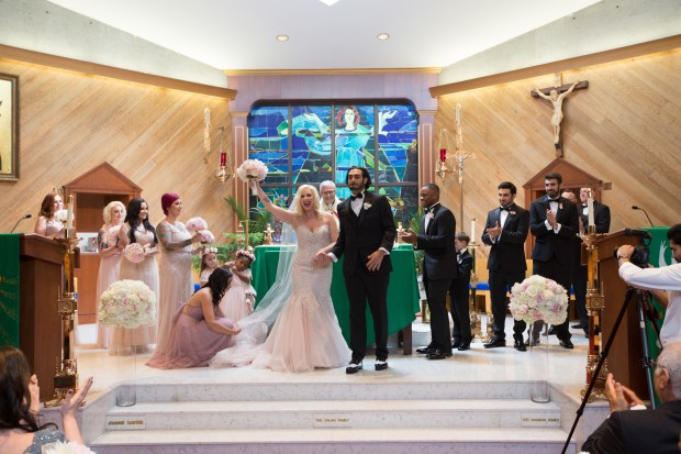 Ariana and Elie's Blush Toned Wedding at Rosecliff on The Newport Bride
