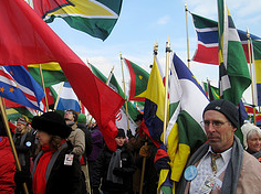 "RPCVs marching. Check out more photos on Flickr. Search ""PeaceCorpsInauguration2009"""