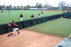 BLACKSBURG, Va., Apr. 12 - A pitcher with the Hokies' baseball team throws int he bullpen during practice at English Field. Photo: Conor Doherty