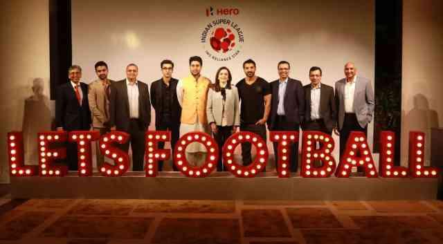 Let's Football! ISL Club owners along with Nita Ambani, founder and chairperson, Indian Super League met in Mumbai on September 29 ahead of the kick off of Season 3 to discuss India's inclusive football growth. Seen from Left: Anil Sharma (DDFC), Akshay Tandon (FC Goa), Kapil Wadhawan (FCPC), Ranbir Kapoor (MCFC), Abhishek Bachchan (CFC), Nita Ambani (FSDL), John Abraham (NEUFC), Sanjiv Goenka (ATK), Sanjay Gupta (Star India), N Prasad (KBFC)