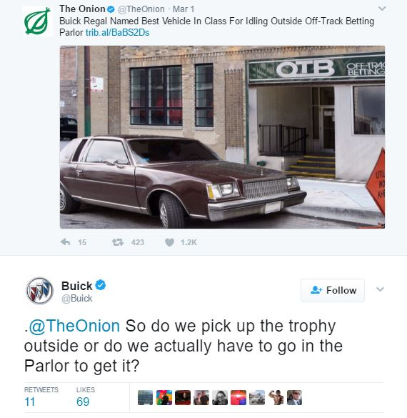 Buick Asks 'the Onion' Where It Can Pick Up Trophy For