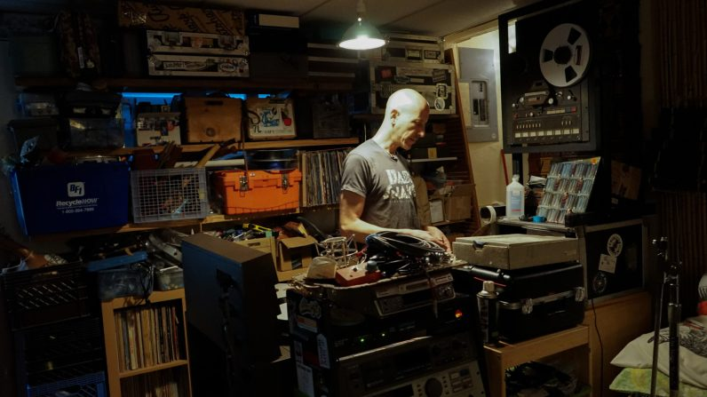 DJ Le Spam in his recording roon (Credit: Bruce Pinchbeck / The New Tropic)
