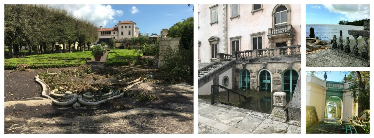 pictures of Vizcaya flooding and damage