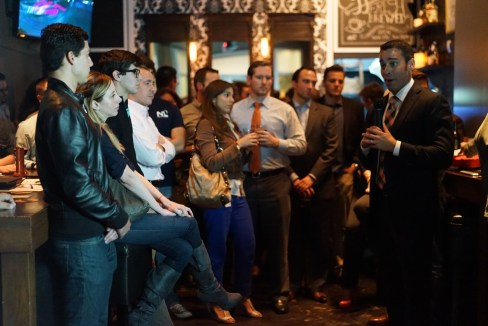At a recent meeting of Miami Young Republicans, attendees learned about the regulatory battle over craft beer and heard debate from craft brewers, the Florida Beer Wholesalers Association, and Representative Erik Fresen, right. (Courtesy of Marco A. Leyte-Vidal, III)