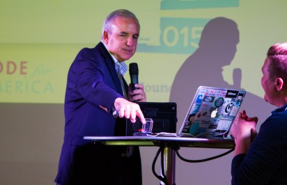 Miami-Dade Mayor Carlos Gimenez launches the county's open data portal with the push of a big red button.