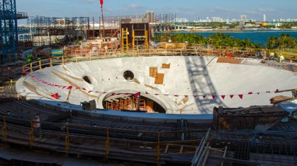The under construction shark tank. The biggest port hole will be the site of the oculus viewing glass.