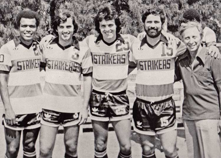 Four legends from the 1979 Strikers stand together — Peruvian Teófilo Juan Cubillas (regarded as Peru's greatest player ever), George Best, Guy Newman, Gerd Müller. (nasljerseys.com photo)