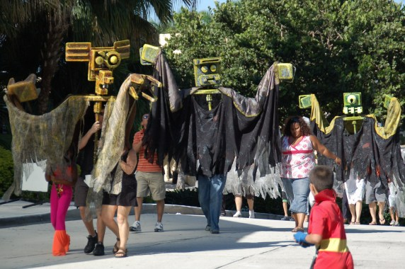 Marching along in the Day of the Dead parade. (Courtesy of South Florida Day of the Dead Celebration)