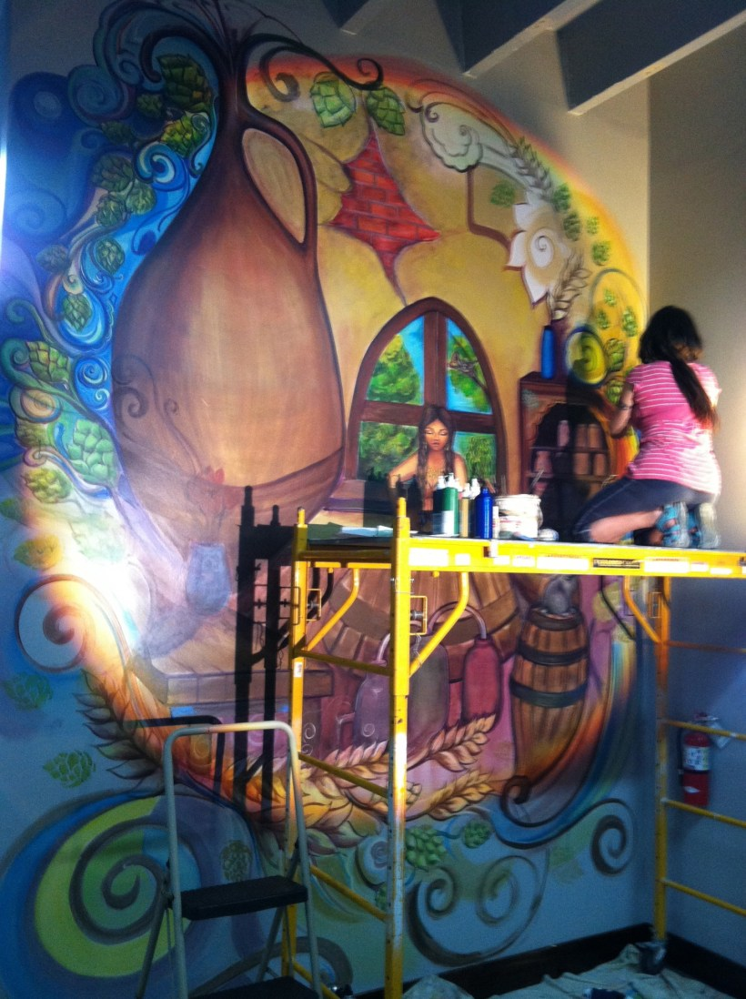 Creating a mural on the walls of Wynwood Brewing, funded in part by The Awesome Foundation. (Courtesy of The Awesome Foundation)