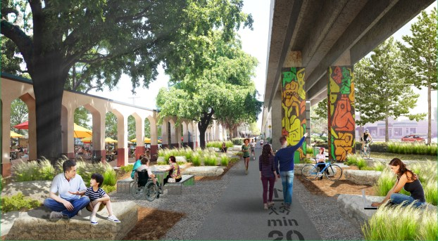 The proposed Grove Gallery, near the Coconut Grove Metrorail station, capitalizes on existing opportunities to create a social space for gathering, strolling, and art. (Courtesy of James Corner Field Operations and Friends of The Underline)