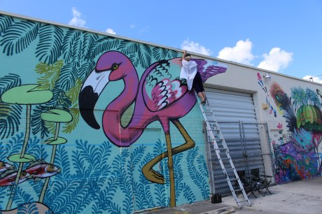 Flamingo mural in the Leah Arts District.. (Courtesy of JLPR)