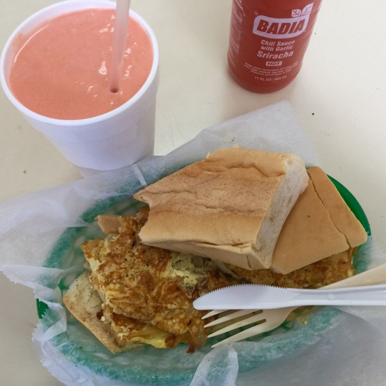 A sandwich and a milkshake at S & N Vegetables. (Courtesy of Maria de los Angeles)