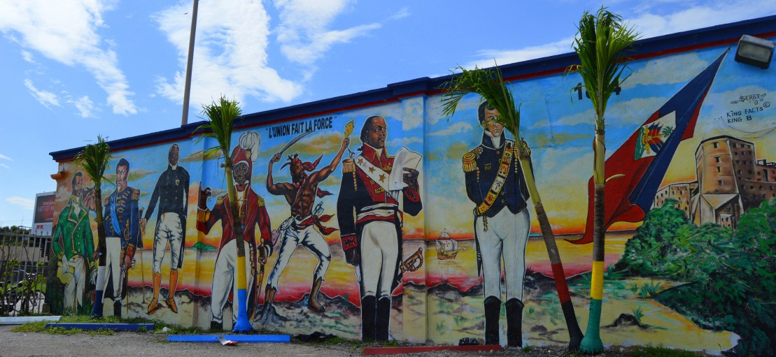 A mural in Little Haiti depicting the Haitian Revolution Freedom Fighters, by local mural artist Serge Toussaint