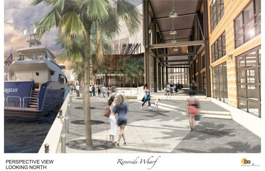 A rendering of the public boardwalk (Courtesy of Riverside Wharf LLC)