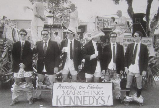 The Marching Kennedys at the King Mango Strut Parade in 1991 (Courtesy of Michael Carlsbach)