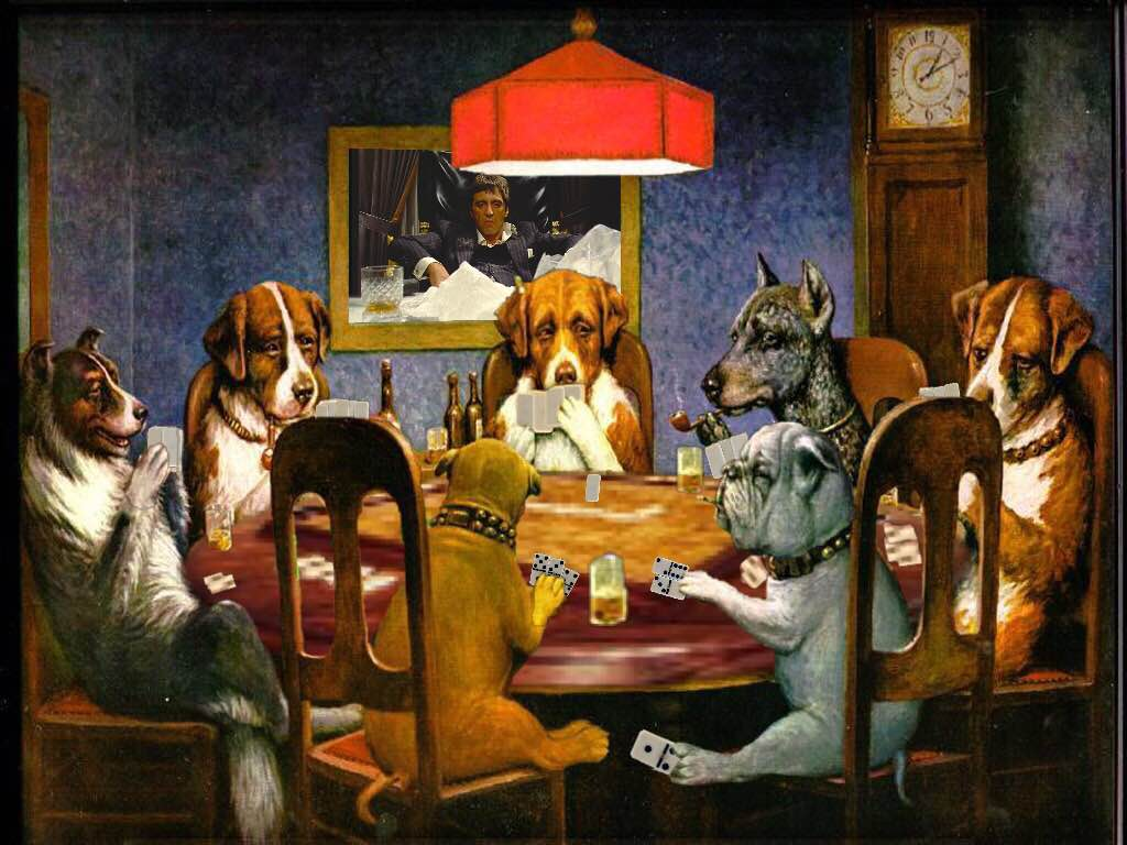 """Dogs Playing Dominoes"""