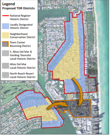 The various existing and potential historic designations in North Beach (Courtesy of Dover, Kohl and Partners)