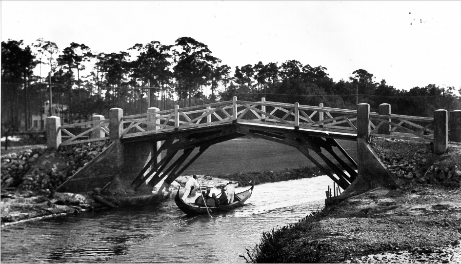 Gondola under Bridge, Coral Gables Waterway, near Biltmore Hotel, January 27, 1926. (Courtesy of The City of Coral Gables Historical Resources and Cultural Arts Department)