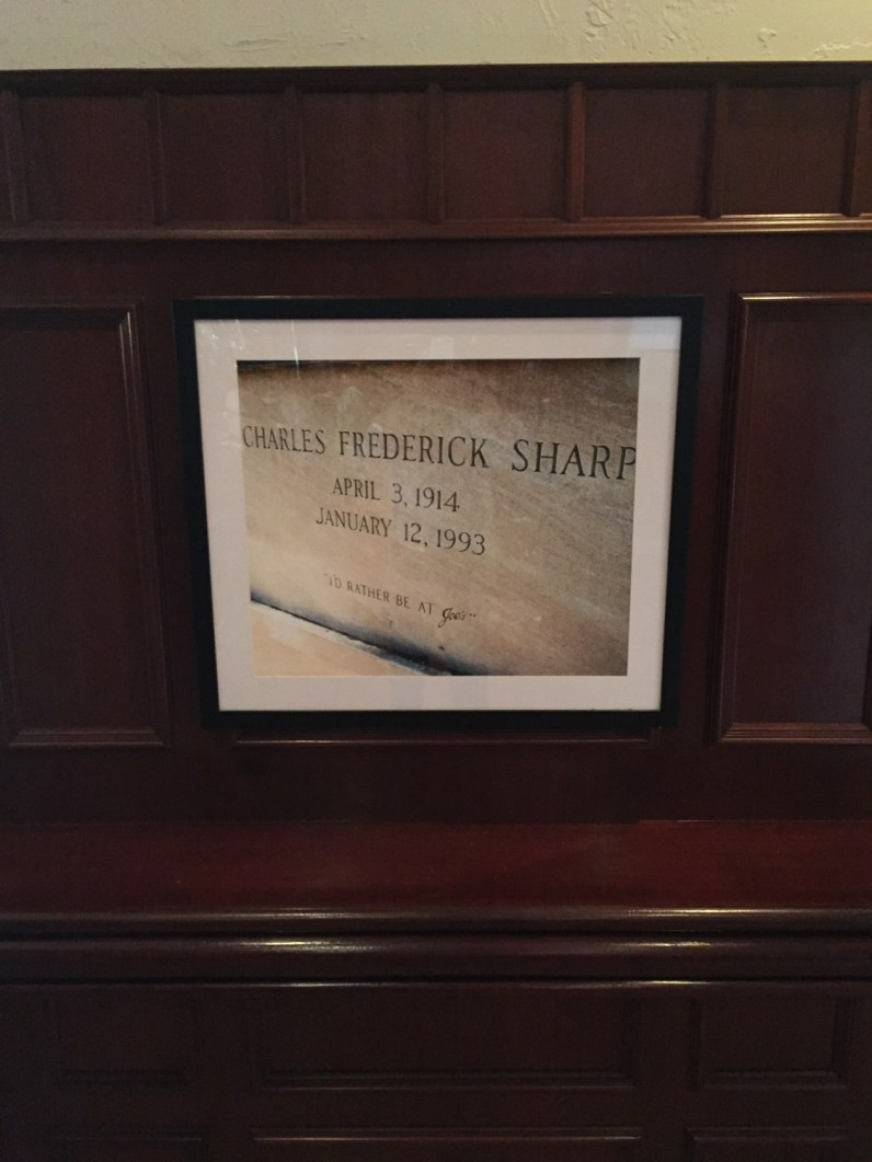 Charles Frederick Sharp's tombstone at Joe's Stone Crab. (Courtesy of Stephen Sawitz)
