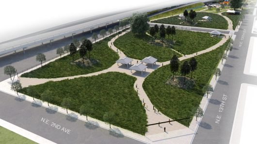 Silver chickee huts made out of chain-linked fence will provide shade.