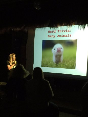 Melissa Osorio leading baby animal trivia at Nerd Nite. (Courtesy of Laura Chaibongsai)