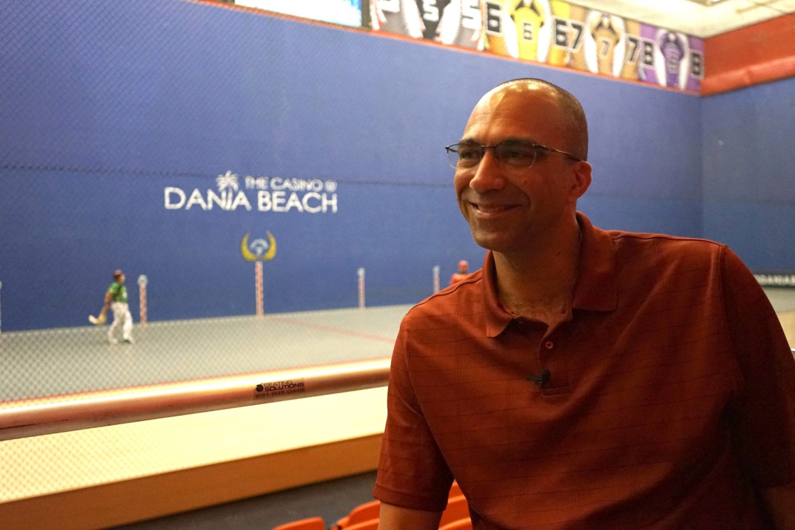 "Benjamin ""Benny"" Bueno, a Miami native and former professional player jai-alai player. He's the current player manager at The Casino at Dania Beach. (Credit: Roshan Nebhrajani/The New Tropic)"