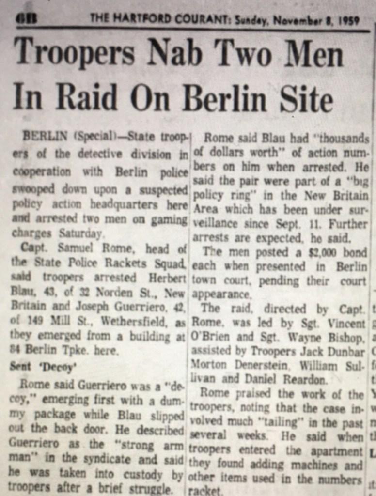 1959 - numbers lottery raid