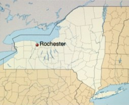 Rochester on the map of NYS