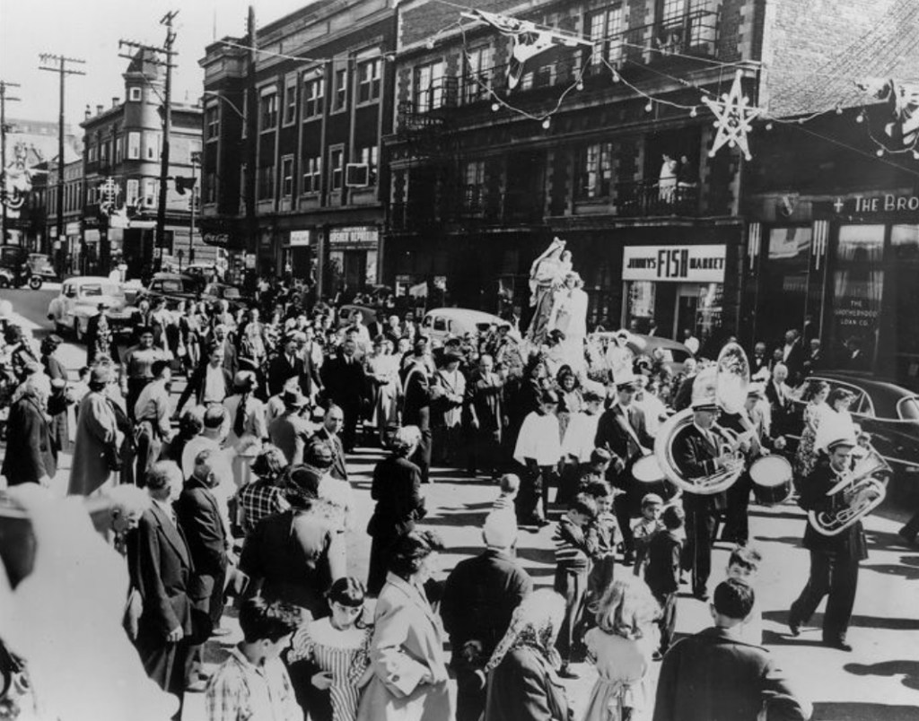 1950s - Italian Festa in Cleveland's Italian section.