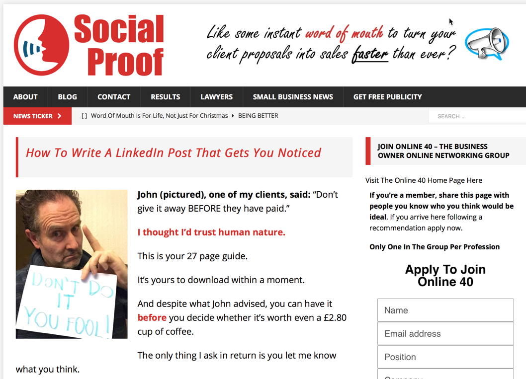 Social Proof, LinkedIn Posts, Word of Mouth Advertising, Ian Denny
