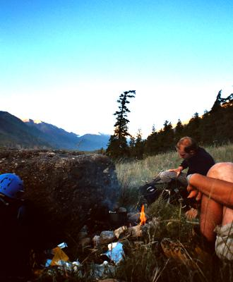 Campfire in the Inlychek Valley