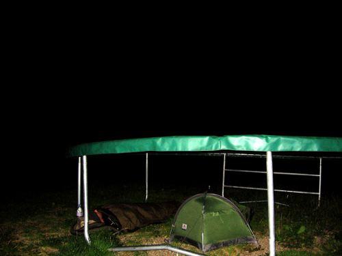 Beneath a trampoline (outside a B&B!)