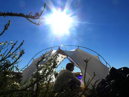 Tent and sun flare