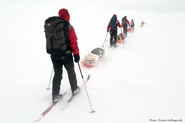 Pulk dragging in low visibility (Photo: Robert Hollingworth)